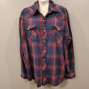 VINTAGE Wrangler Red/Blue Plaid Button Down